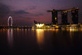 Twilight at marina after dark shoot of singapore Royalty Free Stock Photography