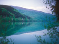 Twilight over a mountain lake carpathian range ukraine Stock Photos