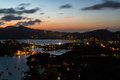 Twilight over nelson s and falmouth harbours seen from shirley heights antigua Royalty Free Stock Image