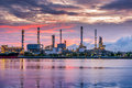 Twilight scene of oil refinery plant. Royalty Free Stock Photo
