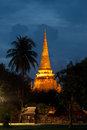 Twilight scene of Wat Phra Si Sanphet in Ayutthaya Historical Park of Thailand.