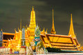 Twilight Temple of the Emerald Buddha Wat Phra Kaew of Bangkok Royalty Free Stock Photo