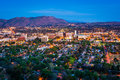 Twilight view of the city of riverside from mount rubidoux park in california Stock Photography