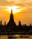 Twilight view of Wat Arun during sunset Stock Images