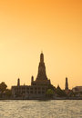 Twilight view of wat arun during sunset in bangkok thailand famous temple from Stock Photo