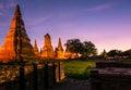 At twilight. Wat Chaiwatthanaram temple, Ayutthaya Historical Park, Thailand.