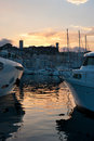 The twilights scenic reflection of sunset in sea waters cannes france Stock Photo