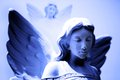 Twin angel statues pair of with wings looking on Royalty Free Stock Photos