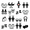Twin babies icons set - double pram, twin boy and girl designs