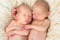 Twin babies together ten days old newborn asleep Royalty Free Stock Image