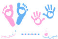 Twin baby girl and boy feet and hand print arrival card Royalty Free Stock Photo