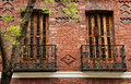 Twin balconies in madrid traditional spain Royalty Free Stock Image