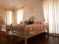 Twin bedroom with roses fresco decoration Royalty Free Stock Photo