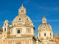 Twin churches rome italy two on the trajan forum in Stock Photo