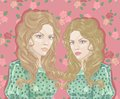Twin girl vintage vector illustration Stock Photo