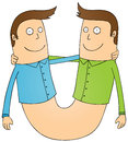 Twin guys illustration of smiling Stock Image