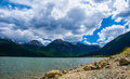 Twin Lakes Colorado Mountain Scene Clouds Rolling in Royalty Free Stock Photo