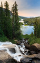 Twin lakes waterfall at sunrise near mammoth california Stock Photo