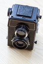 Twin lens camera a black old viewed from the top Royalty Free Stock Photos