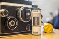 Twin-Lens Reflex camera with black and white film roll Royalty Free Stock Photo