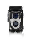Twin lens reflex camera medium format isolated on a white background Royalty Free Stock Photos