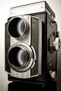 A twin lens reflex camera tlr old with two objective lenses of the same focal length Royalty Free Stock Photo