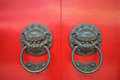 Twin lion head door knocker Royalty Free Stock Photo