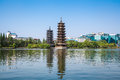 Twin pagoda in guilin golden and silver pagodas banyan lake china Stock Photo