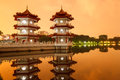 Twin Pagodas reflecting in pond Royalty Free Stock Photo