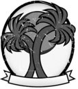 Twin Palm Sun Badge Oval Banner Grayscale Royalty Free Stock Photo