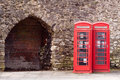Twin Red Telephone Boxes Royalty Free Stock Photo