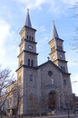 Twin spires and church entrance of in saint paul minnesota Stock Photos