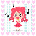 Twin tails girl red sing a song by vector graphics Stock Image