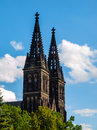 Twin towers of basilica of st peter and st paul in vysehrad prague czech republic Stock Images