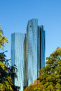 Twin towers deutsche bank i and ii in frankfurt am main germany sep front are the meter high on sep Royalty Free Stock Photos
