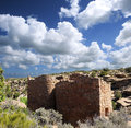 Twin towers hovenweep national monument Stock Photo