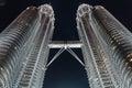 Twin Towers at night in Kuala Lumpur, Malaysia Royalty Free Stock Photo
