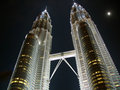 Twin towers Petronas and the moon Royalty Free Stock Photo