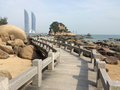 Twin towers in xiamen city southeast china as seen from gulangyu island the will become the tallest Stock Images
