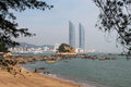 Twin towers in xiamen city southeast china as seen from gulangyu island the will become the tallest Royalty Free Stock Photography