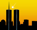 Twin towers the on a yellow orange background Stock Photos