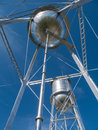 Twin water towers Royalty Free Stock Photo