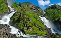 Twin waterfall latefoss is one of the biggest waterfalls in norway Stock Images