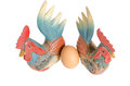 Twin wood chicken two carving and egg Royalty Free Stock Photos