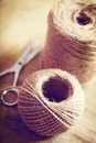 Twine cord natural style on rustic wooden table Royalty Free Stock Photography