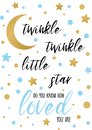 Twinkle twinkle little star text with golden oranment and blue star for boy baby shower banner template Royalty Free Stock Photo