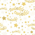 Twinkle stars seamless pattern with gold and lettering hand drawn lullaby baby shower design Royalty Free Stock Images