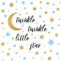Twinkle twinkle little star text with gold blue star and moon for boy baby shower card template Royalty Free Stock Photo