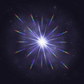 Twinkling cosmic star rainbow glare Royalty Free Stock Photo