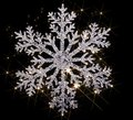 Twinkling snowflake artificial clear with lots of light effects in black back Royalty Free Stock Photo